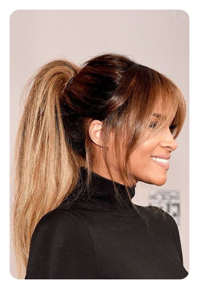 97 Amazing Ponytail With Bangs Hairstyles Inside Tight High Ponytail Hairstyles With Fringes (View 2 of 25)