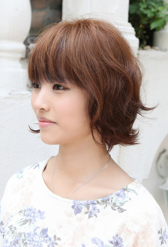 Asian Hairstyles: Soft & Casual Wavy Brown Bob Haircut Inside Wispy Bangs Asian Hairstyles (View 10 of 25)