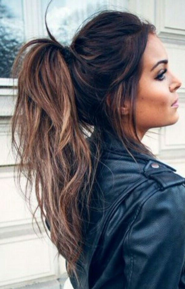 Balayage Messy Ponytail #gorgeoushair | High Ponytail Intended For Messy Voluminous Ponytail Hairstyles With Textured Bangs (View 2 of 25)