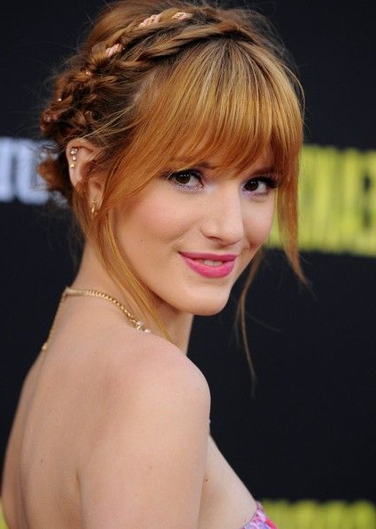 Bella Thorne Braided Updo In 2019 | Hair Beauty: Cat Pertaining To Braided High Bun Hairstyles With Layered Side Bang (View 3 of 25)
