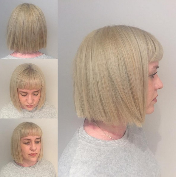 Blunt Haircut With Bangs Short Hairstyles For Thick Hair With Blonde Blunt Haircuts Bob With Bangs (View 10 of 25)