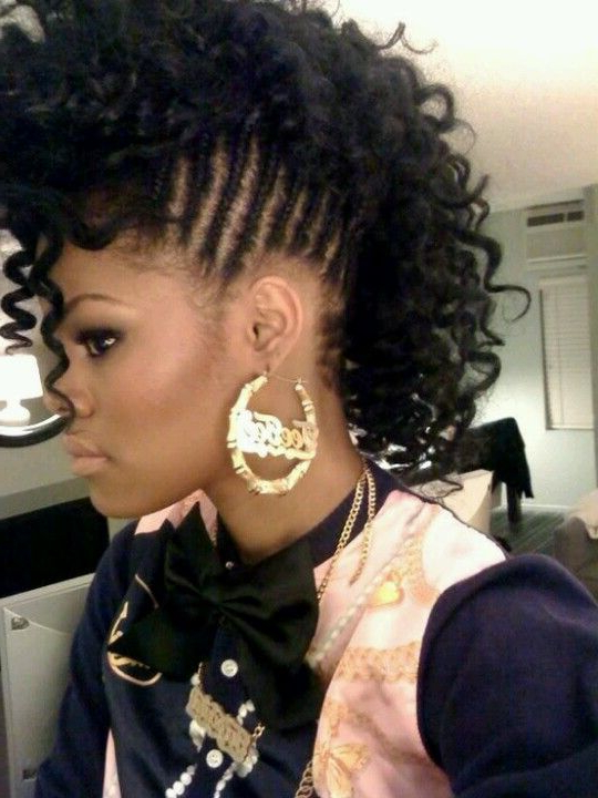 Braided/curly Faux Hawk In 2019   Braided Mohawk Hairstyles Within Long Curly Mohawk Haircuts With Fauxhawk (View 6 of 25)