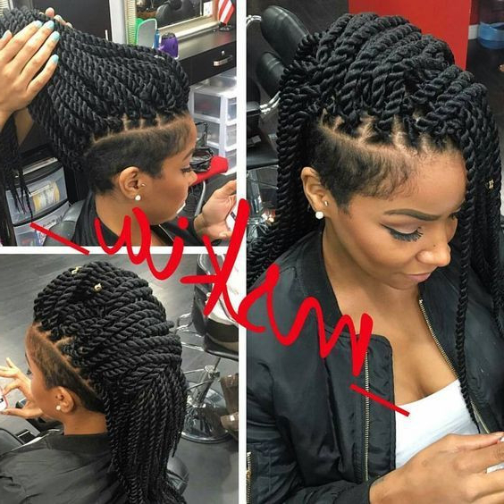 Braided Mohawk Hairstyles With Weave Pertaining To Twist Braided Mohawk Hairstyles (View 11 of 25)