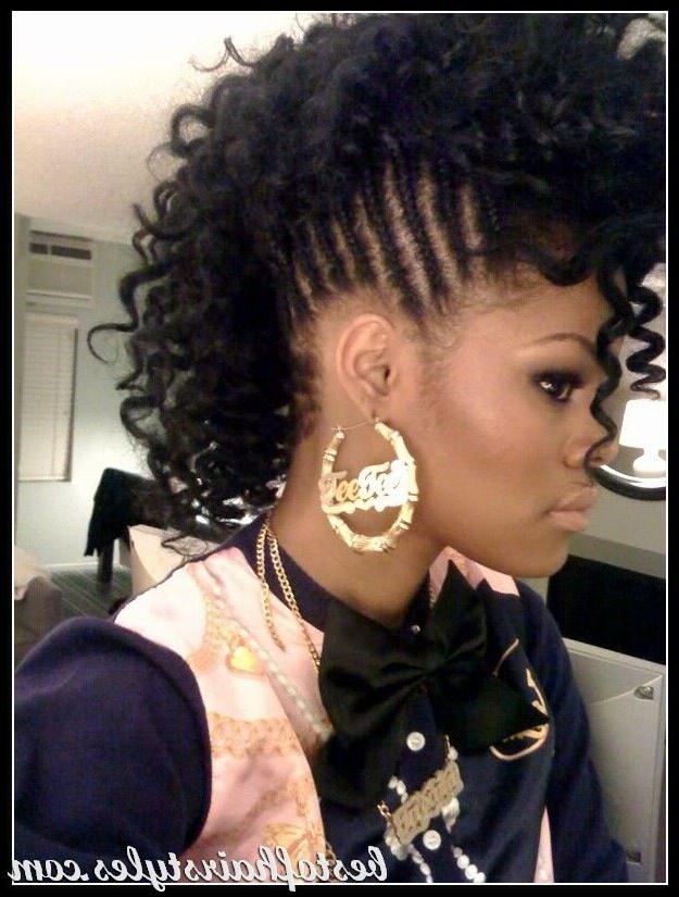 Braided Mohawk With Loose Curls | Braided Mohawk Hairstyles Throughout Braids And Curls Mohawk Hairstyles (View 6 of 25)