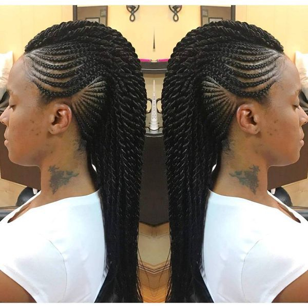 Braids In Mohawk In 2019 | Braided Mohawk Hairstyles, Mohawk In Twisted Braids Mohawk Hairstyles (View 22 of 25)