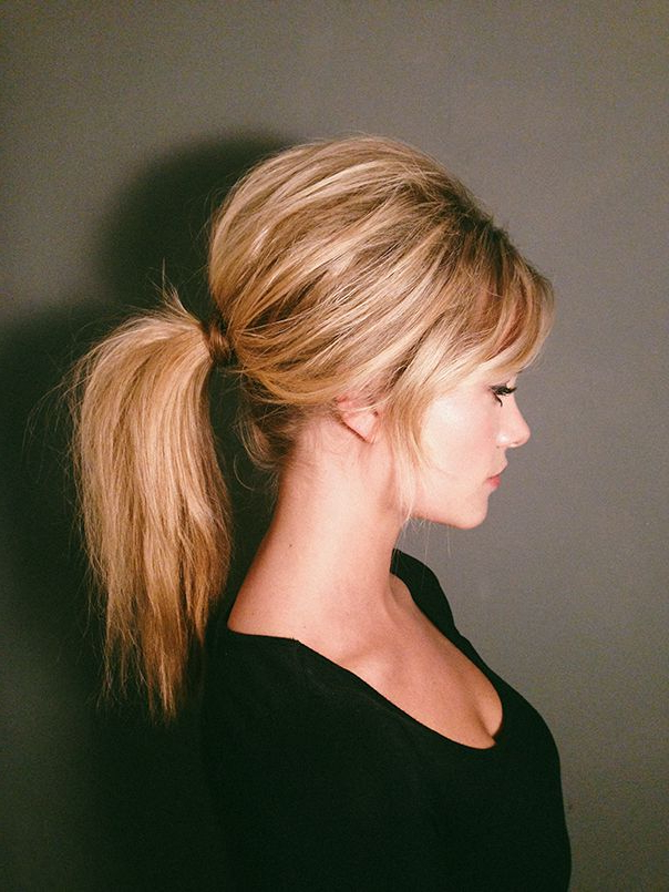Brigitte Bardot Inspired Hairdo's Crossing The Catwalk This For Messy Voluminous Ponytail Hairstyles With Textured Bangs (View 4 of 25)