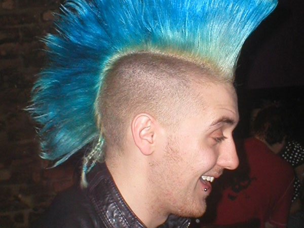 Brilliant Blue Colored Mohawk Style Haircut For Men Pertaining To Blue Hair Mohawk Hairstyles (View 24 of 25)