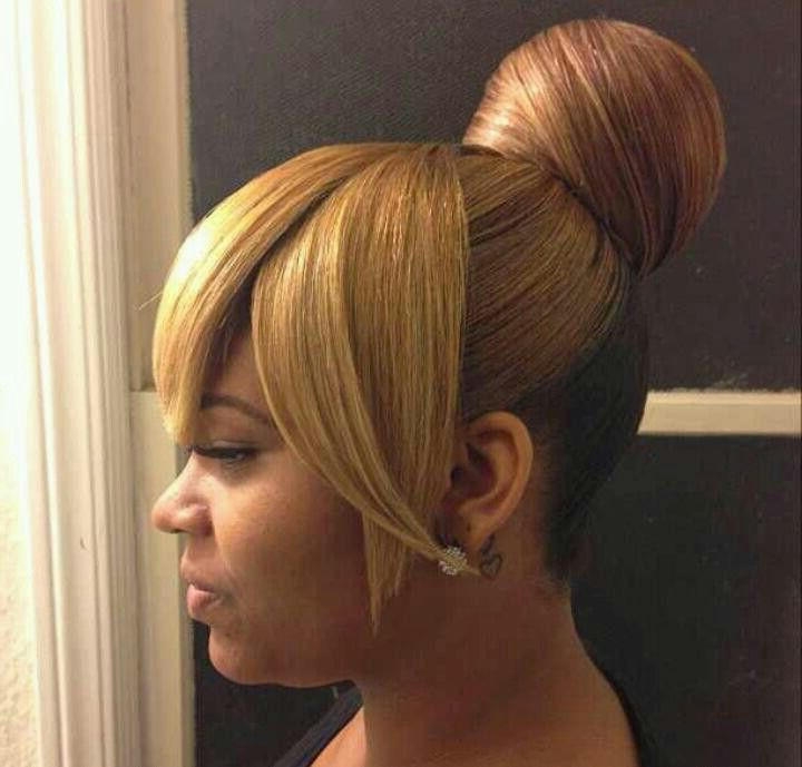 Bun And Bangs In 2019 | Medium Hair Styles, Natural Hair For High Bun With Twisted Hairstyles Wrap And Graduated Side Bang (View 3 of 25)