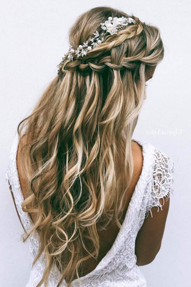 Chic Half-Up Bridesmaid Hairstyles For Long Hair | Long Hair for Long Half-Updo Hairstyles With Accessories