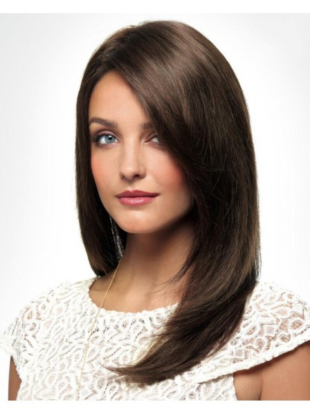 Chic Long Wig With Sleek Straight Layers Of 100% Real Human Hair inside Sleek Straight And Long Layers Hairstyles