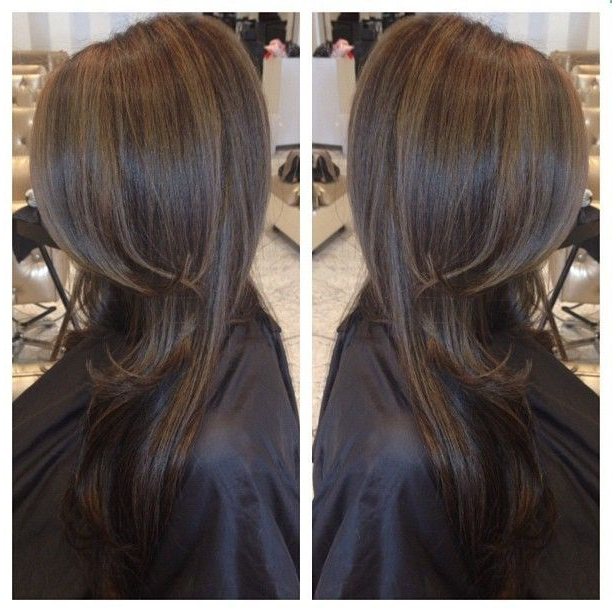 Chocolate Brown Hair Colour With Dark Caramel Highlights intended for Easy Side Downdo Hairstyles With Caramel Highlights