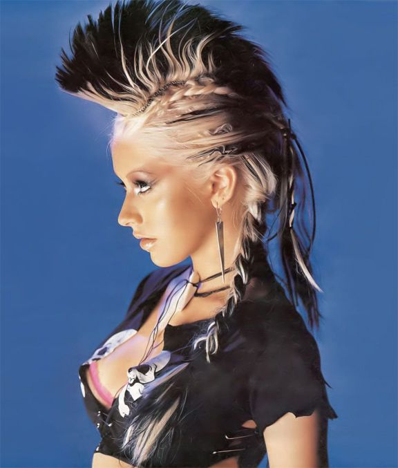 Christina Aguilera, Music, Stripped Era, Rolling Stone with Long Hair Roll Mohawk Hairstyles