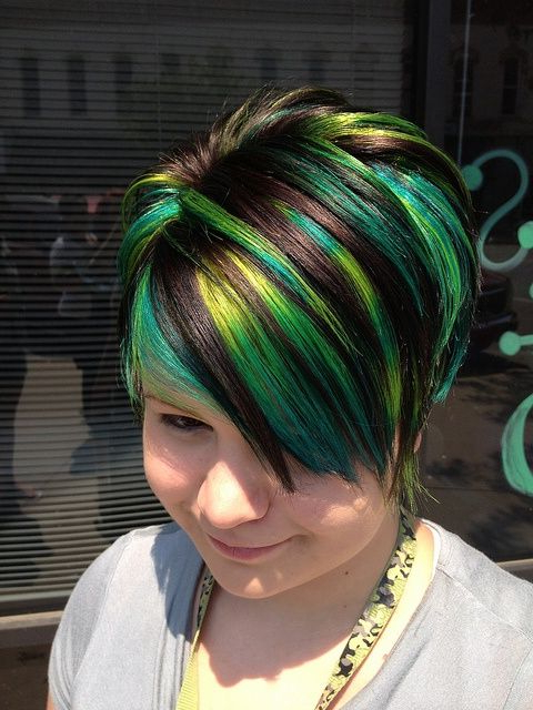 Cool Green Streaked Dyed Short Haircut For Women | Chic for Trendy Pixie Haircuts With Vibrant Highlights