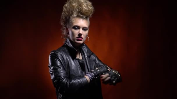 Cool Rocker Girl In Leather Jacket, With Mohawk Like Hairstyle, Posing with Rocker Girl Mohawk Hairstyles
