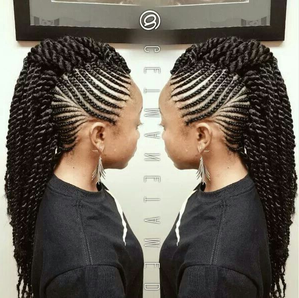 Crochet Mohawk In 2019 | Braided Mohawk Hairstyles, Natural In Twisted Braids Mohawk Hairstyles (View 5 of 25)