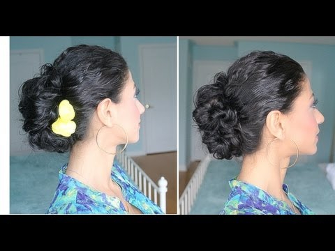 Curly Hair Messy Bun with Elegant Messy Updo Hairstyles On Curly Hair