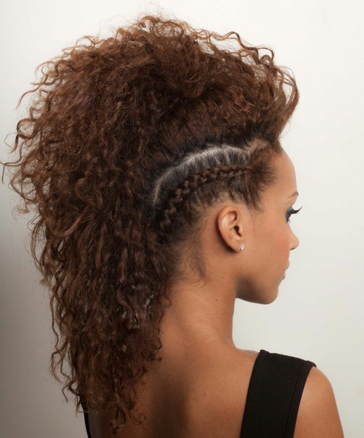Curly Side Braided • Faux-Hawk In 2019 | Curly Hair Styles pertaining to Braids And Curls Mohawk Hairstyles