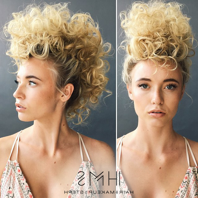 Curly Updo Mohawk Different, But Cool | Hair In 2019 regarding Big Curly Updo Mohawk Hairstyles