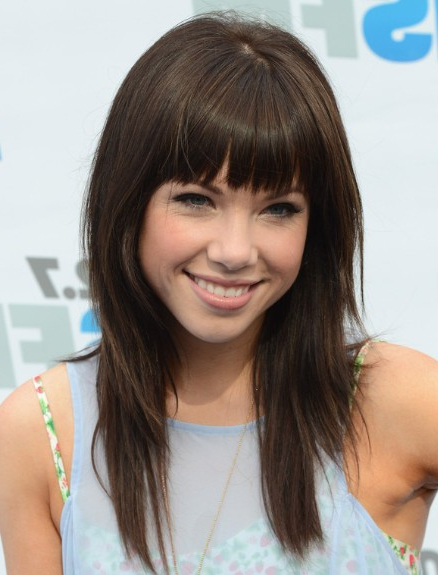 Cut Straight Bangs With Hair Layers For Curly And Wavy Hair with Long Hairstyles With Straight Fringes And Wavy Ends