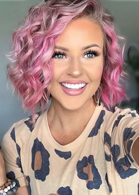 Cutest Pink Short Curly Bob Haircuts To Show Off Nowadays in Pink Bob Haircuts