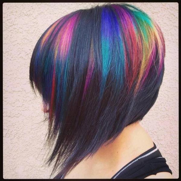 Dark Rainbow Concave Bob In 2019 | Hair Styles, Hair Beauty within Rainbow Bob Haircuts