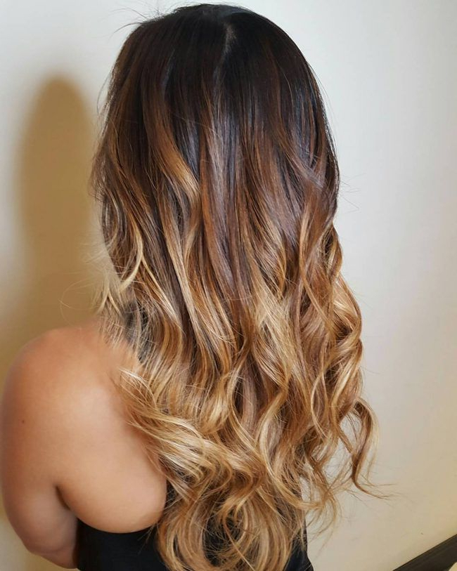 Dark To Light Brown Ombre … | Brown Hair With Highlights Intended For Black To Light Brown Ombre Waves Hairstyles (View 3 of 25)