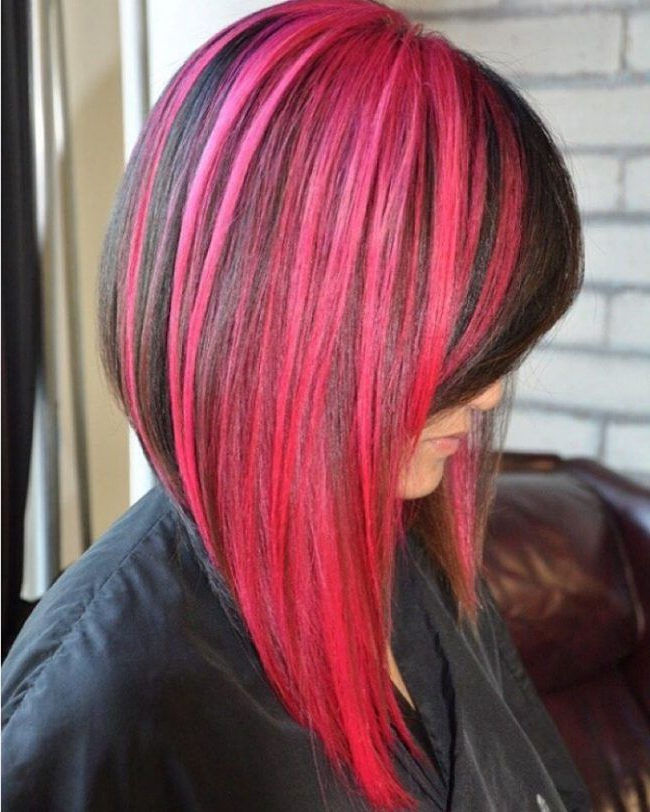 Featured Photo of Pink Asymmetrical A Line Bob Hairstyles