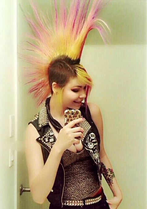 Faded Pink/red/yellow Mohawk | Rock Hairstyles, Punk Mohawk with Rocker Girl Mohawk Hairstyles