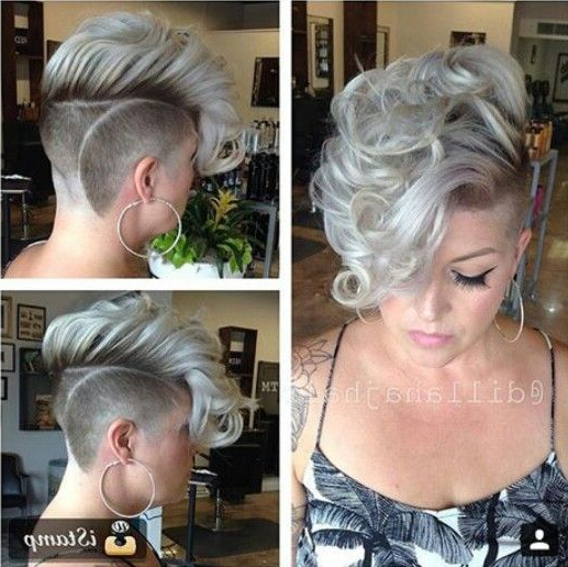 Faux Hawk/ Undercut With Curls | Half Shaved Hair, Short throughout Long Curly Mohawk Haircuts With Fauxhawk