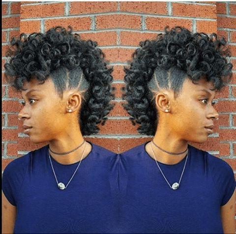 Fierce & Fabulous Curly Frohawk Ig:@miatra_Imahn Stylist inside Fierce Mohawk Hairstyles With Curly Hair