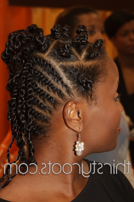 Flat Twist Bantu Knots With Regard To Mohawk Hairstyles With Braided Bantu Knots (View 16 of 25)