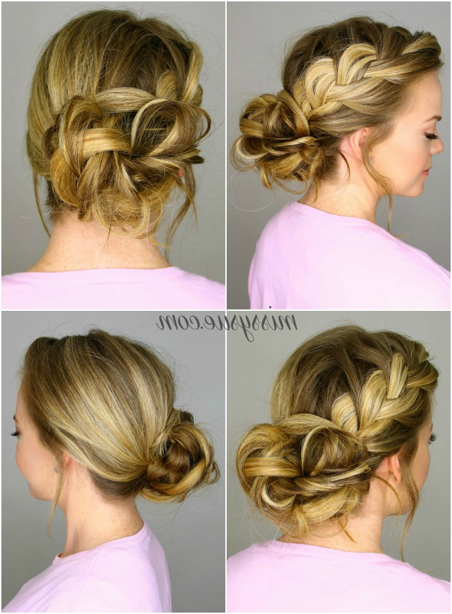 French Braid Into Messy Bun pertaining to Braided Bun Hairstyles With Puffy Crown
