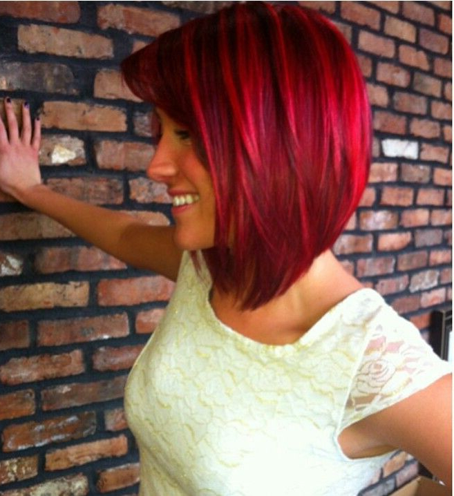 Gorgeous Bright Red Angled Bob | Red Bob Hair, Hair Styles in Bright Bob Hairstyles