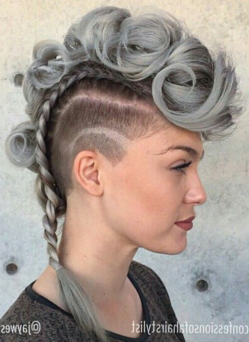 Gray Braided Mohawk … In 2019 | Mohawk Hairstyles, Hair In Punk Mohawk Updo Hairstyles (View 2 of 25)
