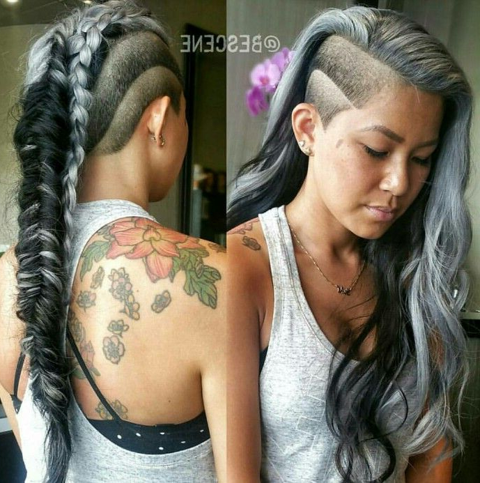 Gray Side Shave Fishtail Braid Mohawk … | Half Shaved Hair throughout Long Hair Mohawk Hairstyles With Shaved Sides