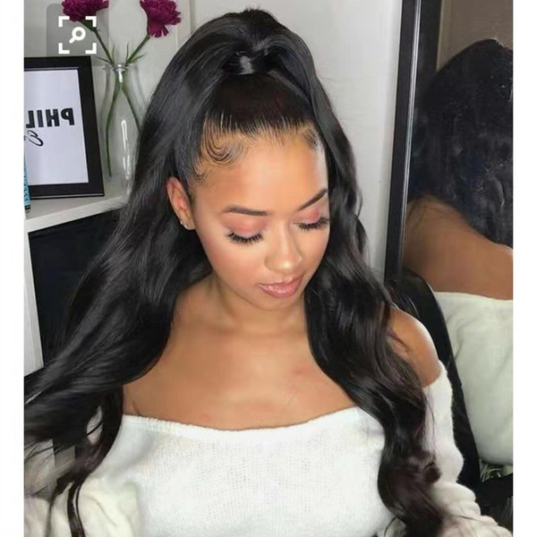 High Long Wavy Real Natural Ponytail Hairpiece Clip In Pony Tail Hair Extensions Wrap Around On Malaysian Remy Hair Piece For Human 160G Black Hair Within High Long Ponytail Hairstyles With Hair Wrap (View 8 of 25)