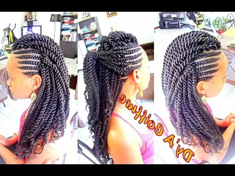 How To ? Mohawk Style With Ghana Cornrows & Havana Twist Dy'a Pertaining To Twisted And Braided Mohawk Hairstyles (View 18 of 25)