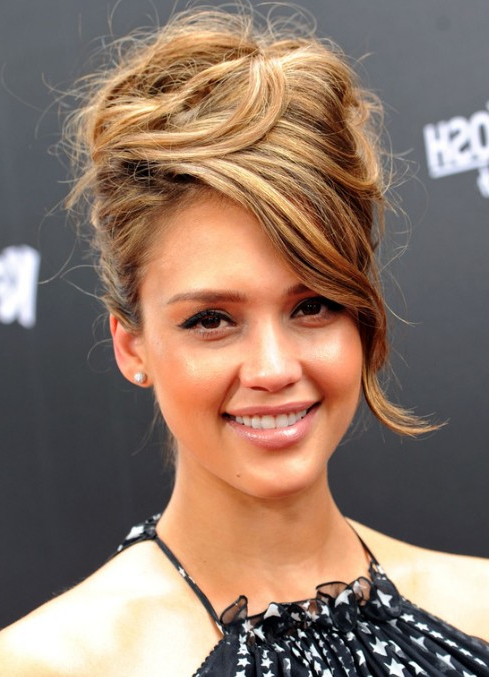 Jessica Alba Sophisticated Messy Updo With Side Swept Bangs within Sleek High Bun Hairstyles With Side Sweep