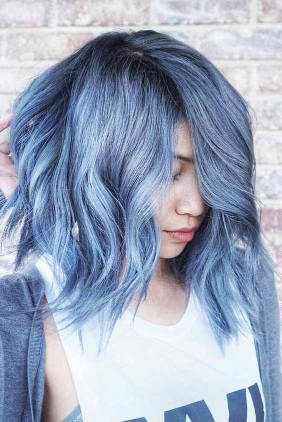 Light Blue Hair Color | Short Hairstyles | Curly | Wavy Throughout Black And Denim Blue Waves Hairstyles (View 8 of 25)