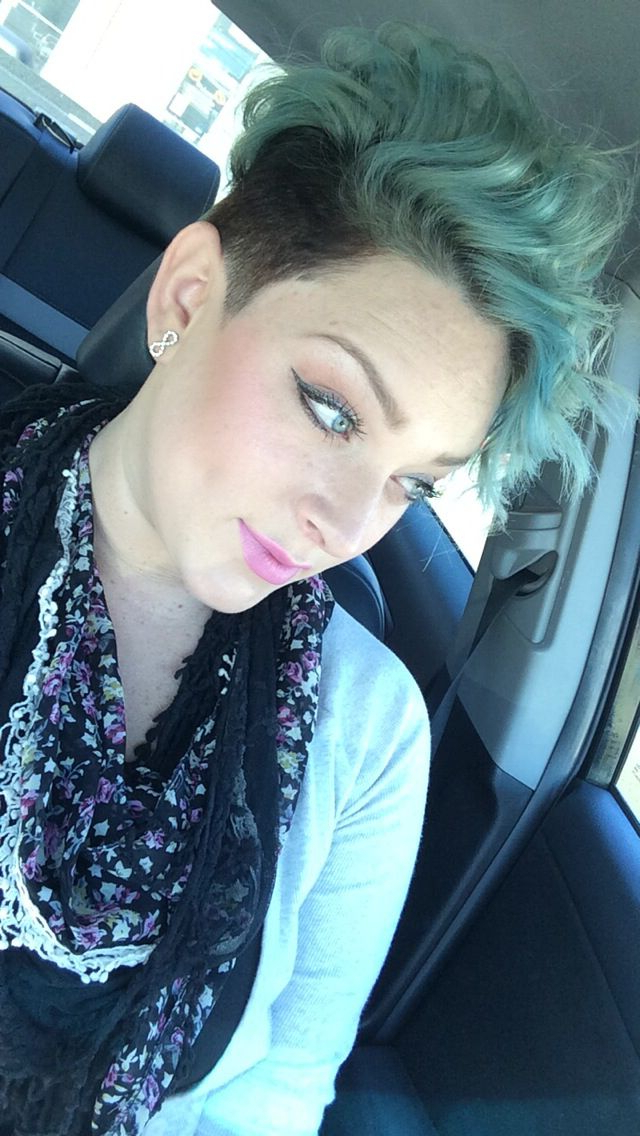 Light Blue Icy Blue Hair Curls On Top Undercut Shaved Sides With Regard To Icy Purple Mohawk Hairstyles With Shaved Sides (View 9 of 25)