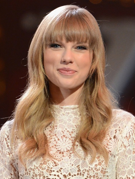 Long Hairstyles For Blunt Bangs: Taylor Swift Wavy Hair Intended For Long Hairstyles With Straight Fringes And Wavy Ends (View 21 of 25)