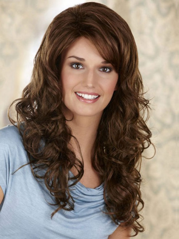 Long Synthetic Wavy Lace Front Wig With Side Swept Bangs With Long Wavy Hairstyles With Side Swept Bangs (View 24 of 25)