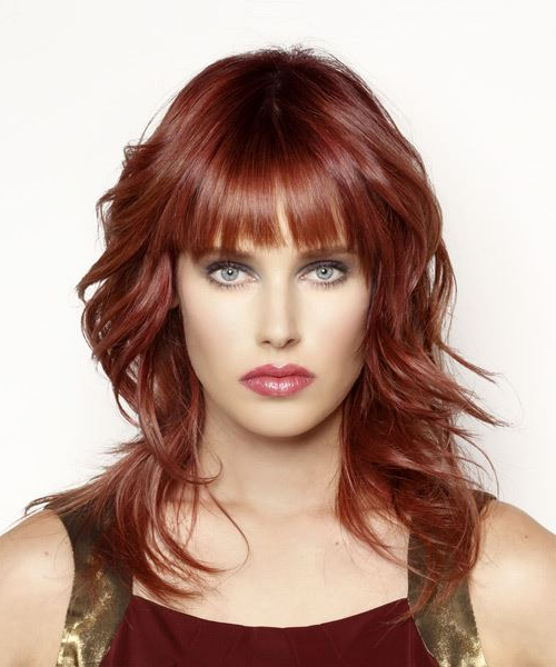 Long Wavy Dark Red Hairstyle With Blunt Cut Bangs Within Medium Length Red Hairstyles With Fringes (View 10 of 25)