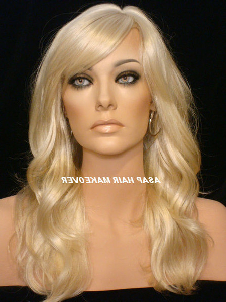 Loose Body Wavy Lace Front Wig Synthetic Wigs Long Flowy Layers & Full Side Bangs In #613/24 Platinum Blonde Highlight Golden Blonde Lace Wig Tape In Loose Flowy Curls Hairstyles With Long Side Bangs (View 24 of 25)