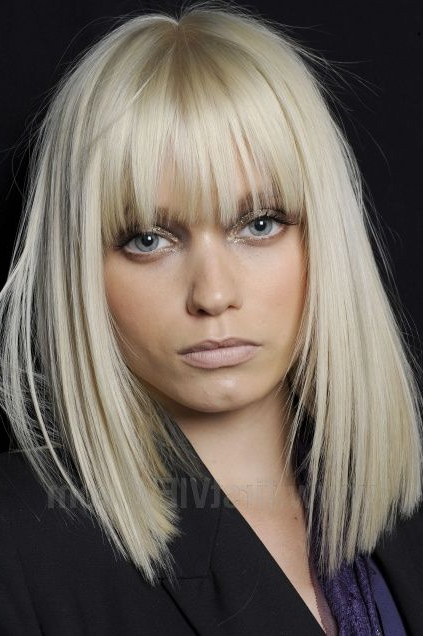 Love Her Bangs And Hairstyle If I Looked Like Her With Bangs Inside Blonde Blunt Haircuts Bob With Bangs (View 7 of 25)