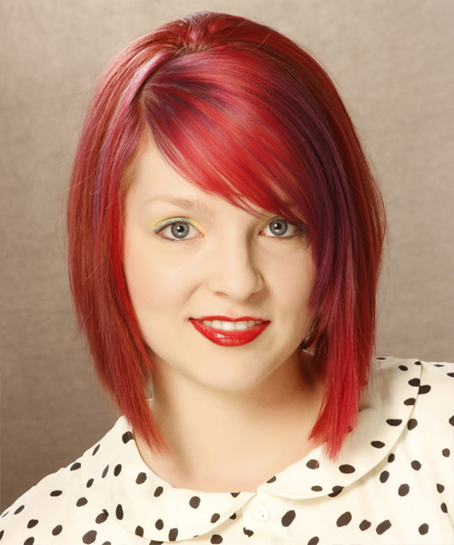 Medium Straight Layered Bright Red Bob Haircut With Side Inside Bright Bob Hairstyles (View 11 of 25)
