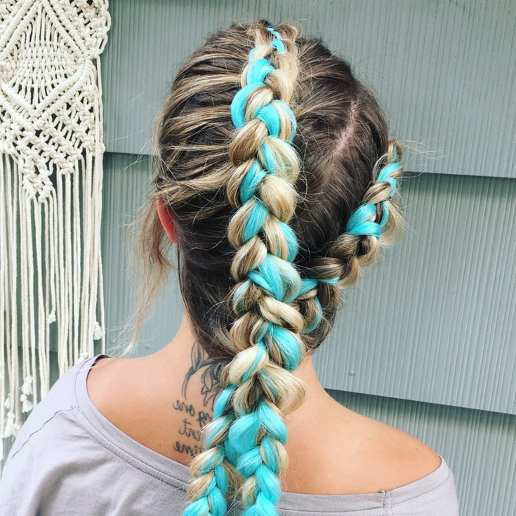 Mekosmanes ? Blue Kanekalon Hair Extension In Dutch Braids With Blue Braided Festival Hairstyles (View 4 of 25)