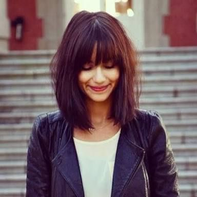Mid Length Dark Red Hair With Bangs – Google Search | Hair Inside Medium Length Red Hairstyles With Fringes (View 22 of 25)