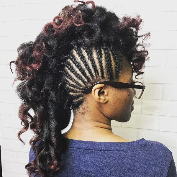 Mohawk Braid Hairstyles, Black Braided Mohawk Hairstyles With Regard To Braids And Curls Mohawk Hairstyles (View 9 of 25)
