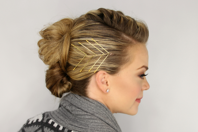 Mohawk French Braid Updo With Regard To Braided Mohawk Bun Hairstyles (View 21 of 25)